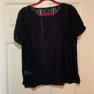 Ann Taylor navy lace blouse